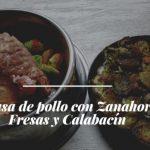 Carcasa de pollo con Zanahoria, Fresas y Calabacín
